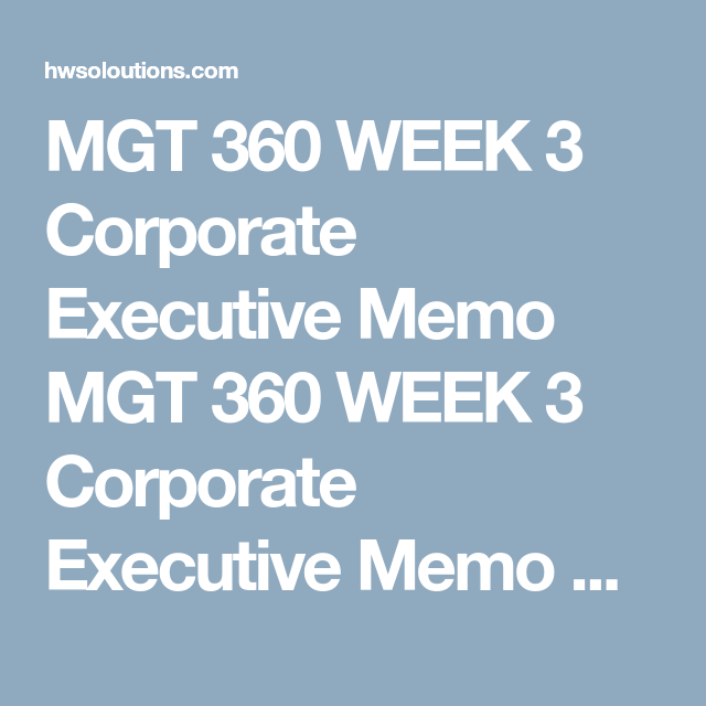Mgt  Week  Corporate Executive Memo Mgt  Week  Corporate
