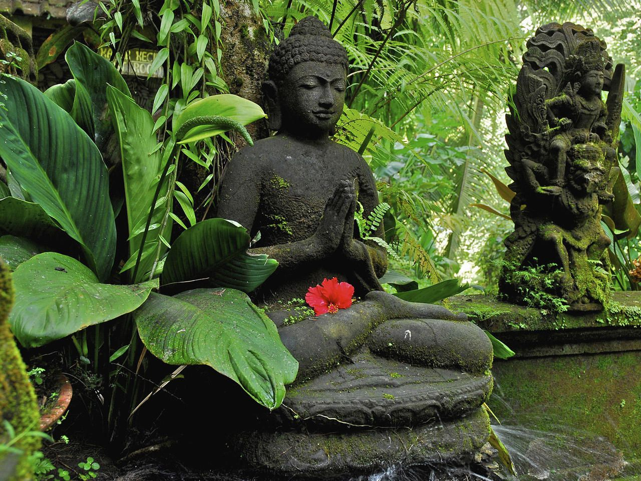 zen garden running water small pond statues of people much more enlightened than i lots of. Black Bedroom Furniture Sets. Home Design Ideas