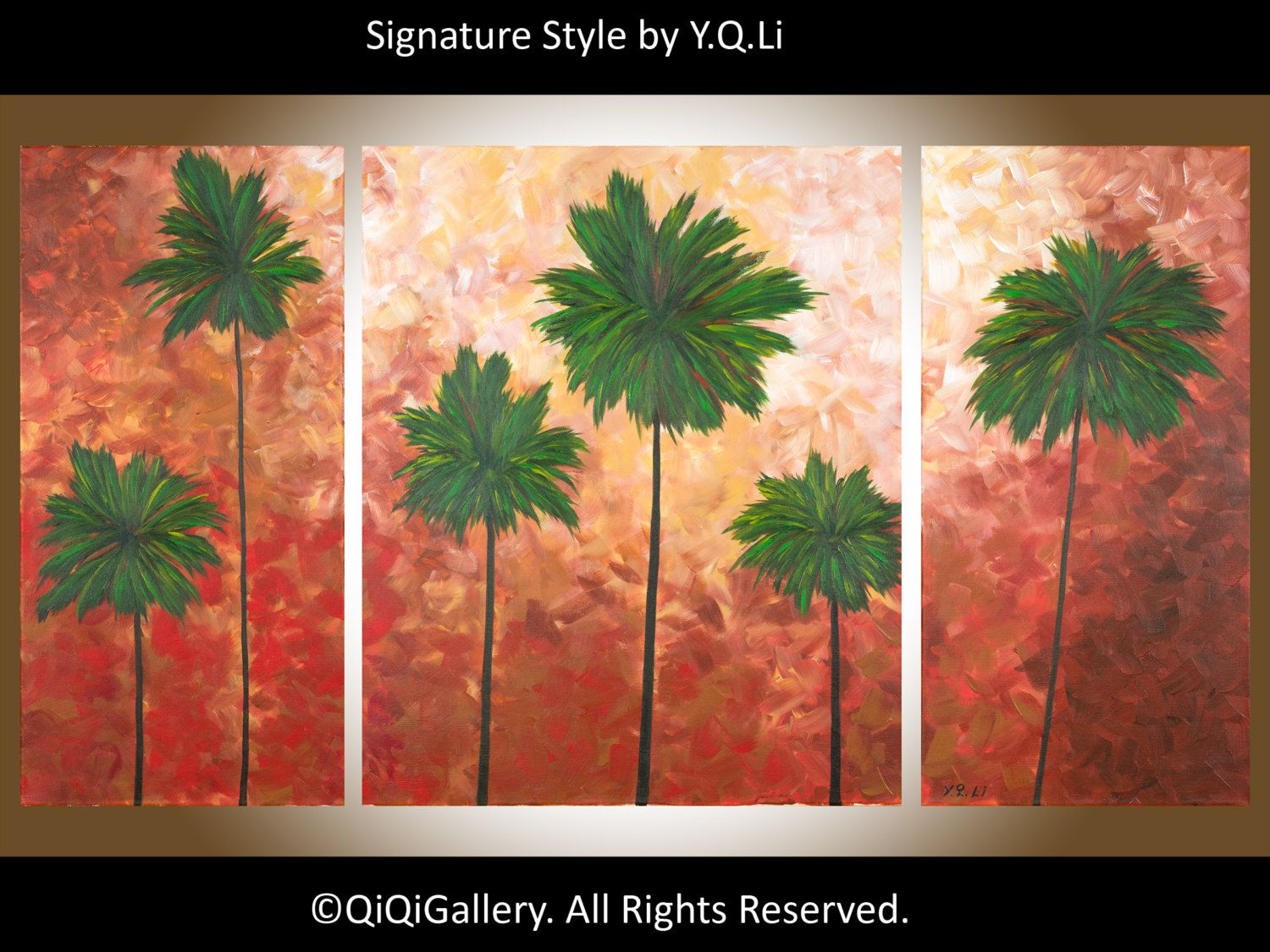 Earth Tone Abstract Landscape Large Painting Heavy Texture Impasto Palm  Trees Wall Dcor California