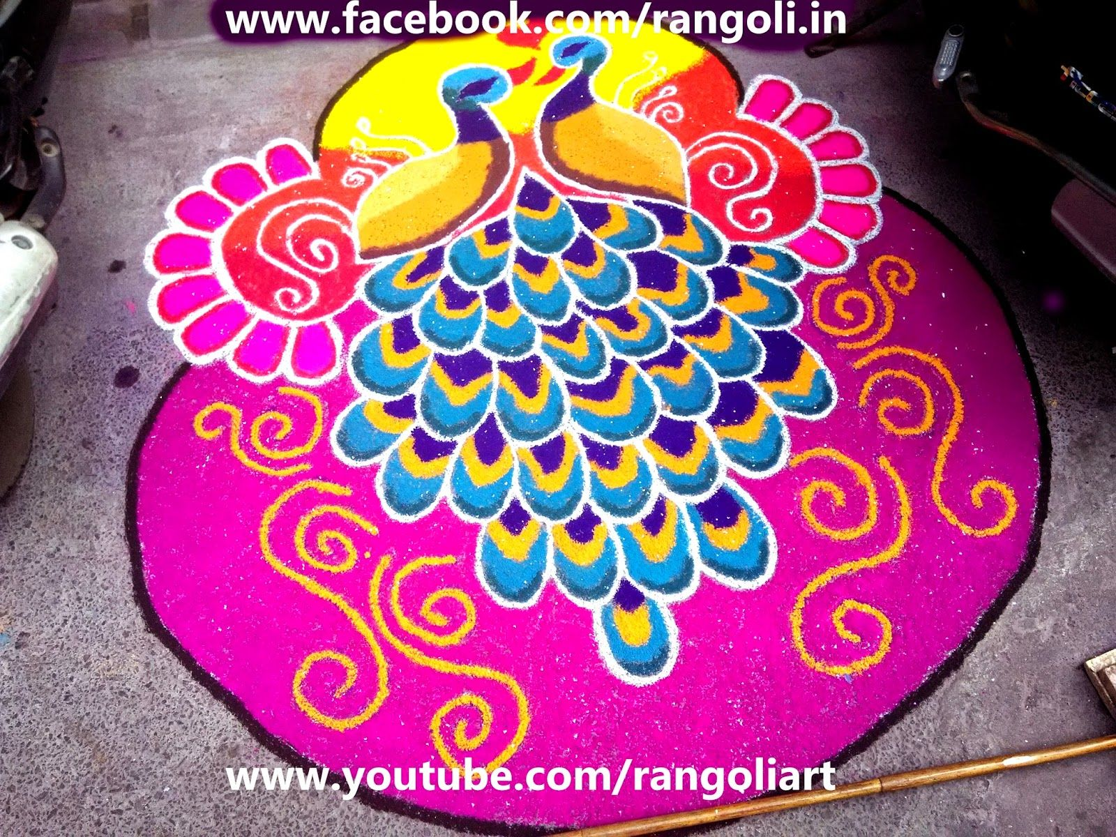 how to draw a peacock rangoli