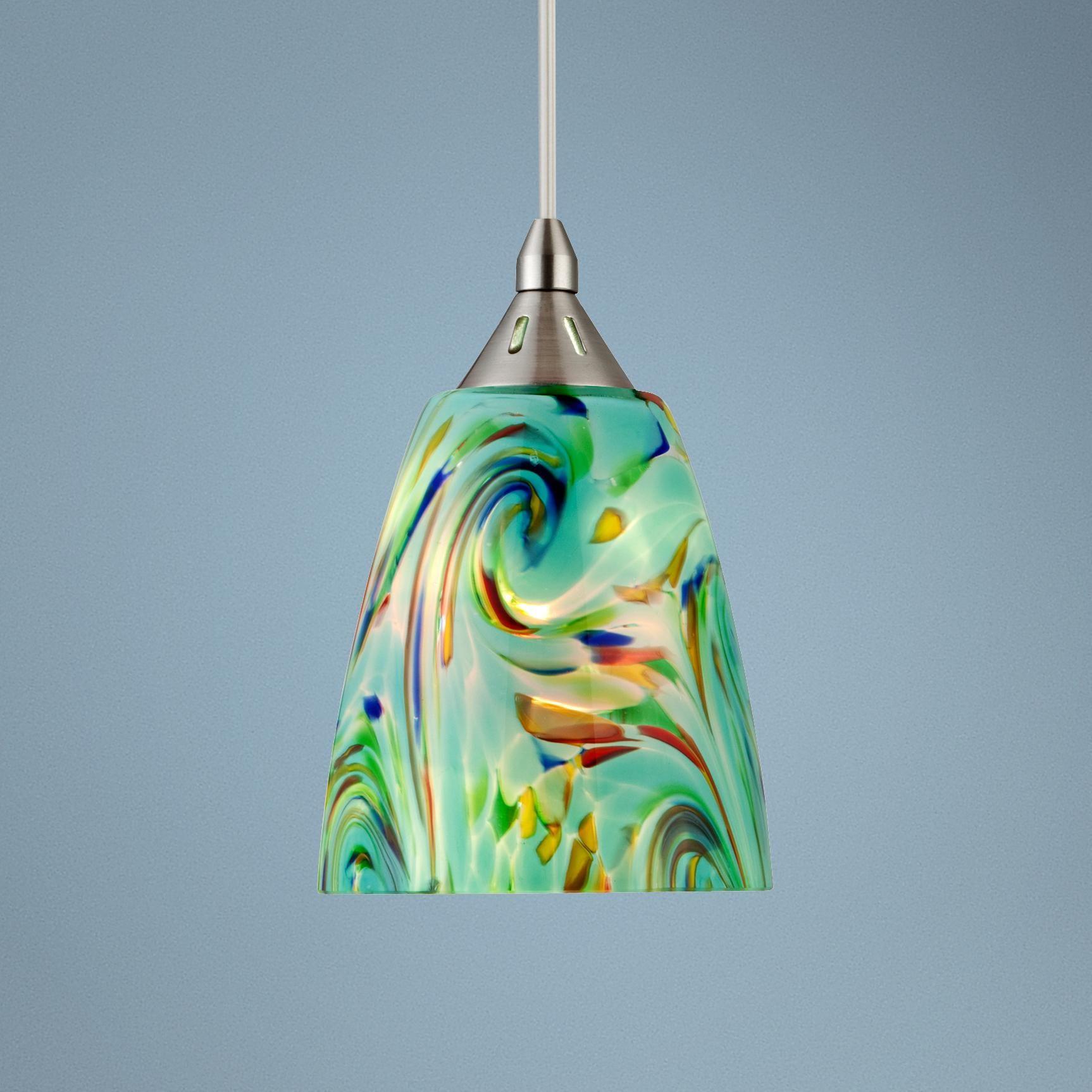 Artglass Marble Cone Pendant Glass Pendant Light Glass Pendant Shades Glass Cylinder Pendant Light