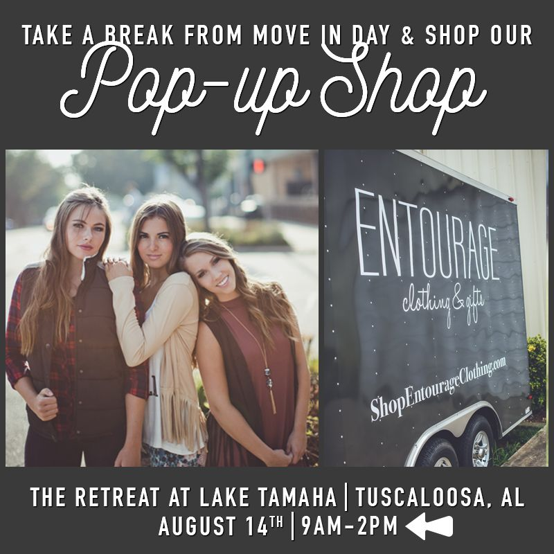 Tuscaloosa! We're coming for you and you don't even have to wait until our new store opens! Join us TOMORROW, 8/14 from 9am-2pm for move-in day at The Retreat at Lake Tamaha! We'll be bringing our Pop-Up Shop for you to shop tons of fabulous looks!