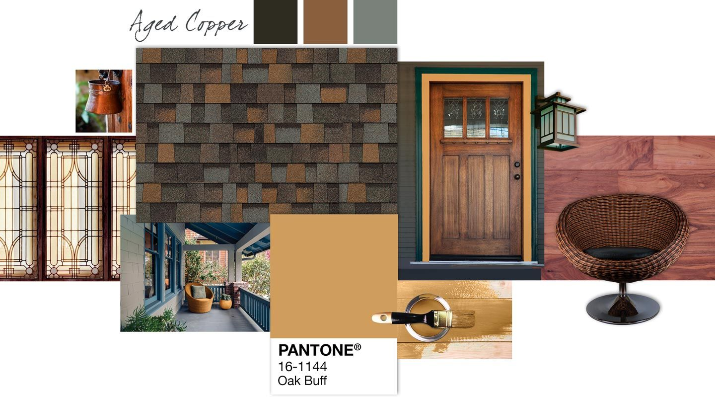 Owens Corning Roof Palette Aged Copper Oak Buff Roofing House Colors Architectural Shingles