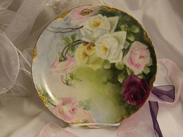 \ FRENCH TEA ROSES PERFECTION\  Gorgeous Antique Limoges France Hand Painted Decorative Art Cabinet Plate & FRENCH TEA ROSES PERFECTION Gorgeous Antique Limoges France Hand ...