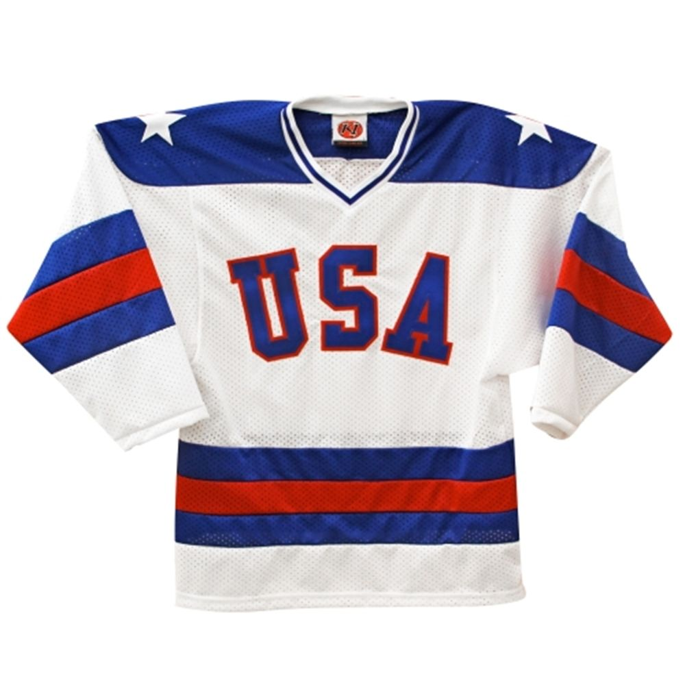 Usa Hockey 1980 Olympic Throwback Replica Game Weight Jersey White Usa Hockey Olympic Hockey Hockey Sweater