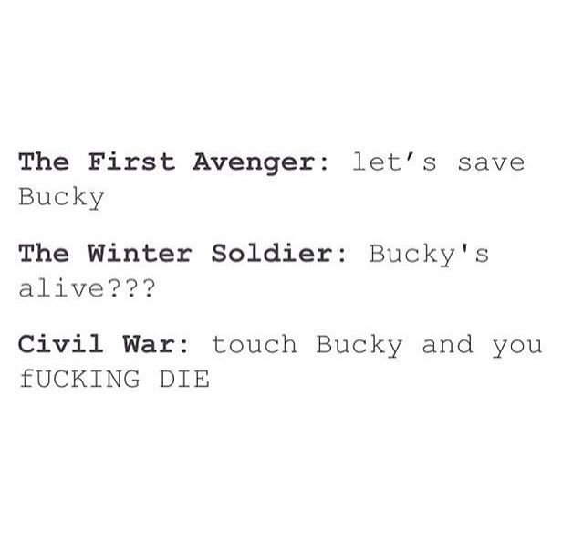 Proof that the Captain America trilogy is really all about Bucky #marvel<< Wake up America!! (apologies for the language)