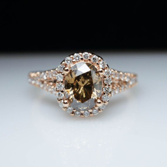 Oval Light Brown Diamond Engagement Ring Halo 14k Rose Gold Diamond