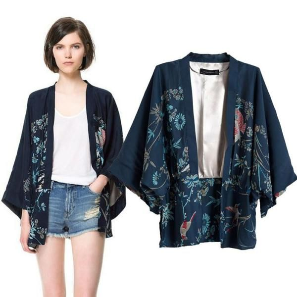 Printed peaccok Loose Style Kimono Cardigan Jacket Coat | Swimwear ...