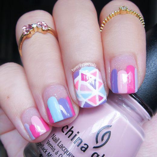geometric nails, midi rings, geometric nail art, glass nail art, girly nail - Geometric Nails, Midi Rings, Geometric Nail Art, Glass Nail Art