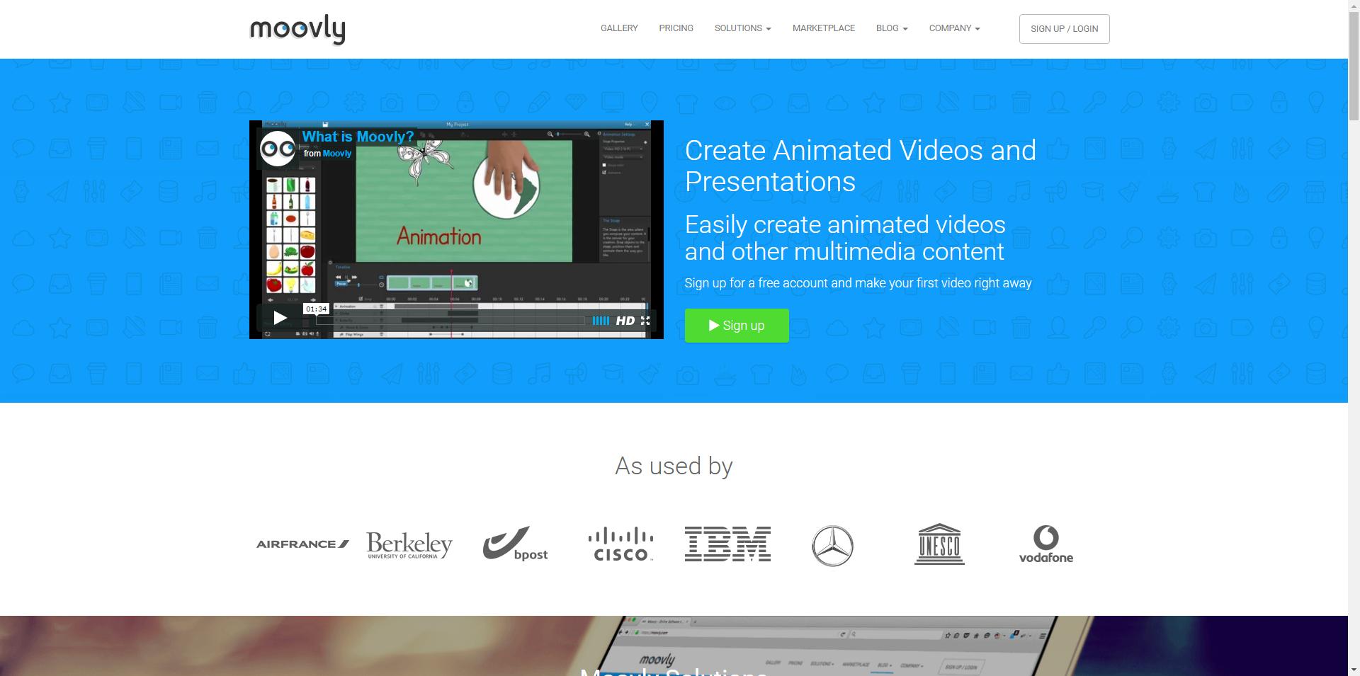 Moovly - Plataforma online para crear vídeos animados. Opción free limitada.