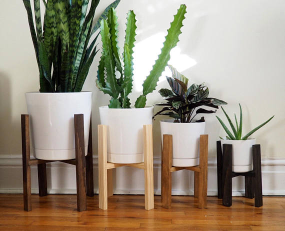 Modern Wooden Plant Stand With Pot Multiple Sizes And Colors