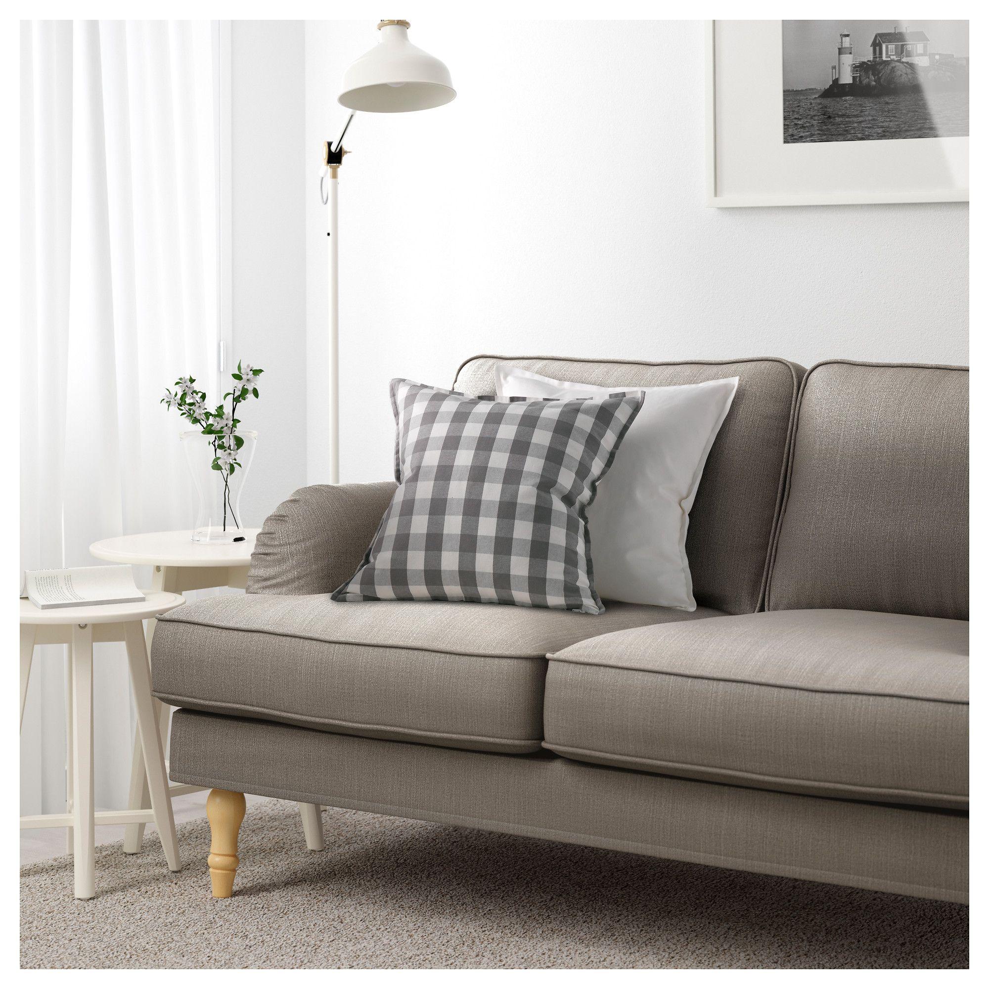 STOCKSUND 3-seat sofa - Nolhaga grey-beige, light brown ...