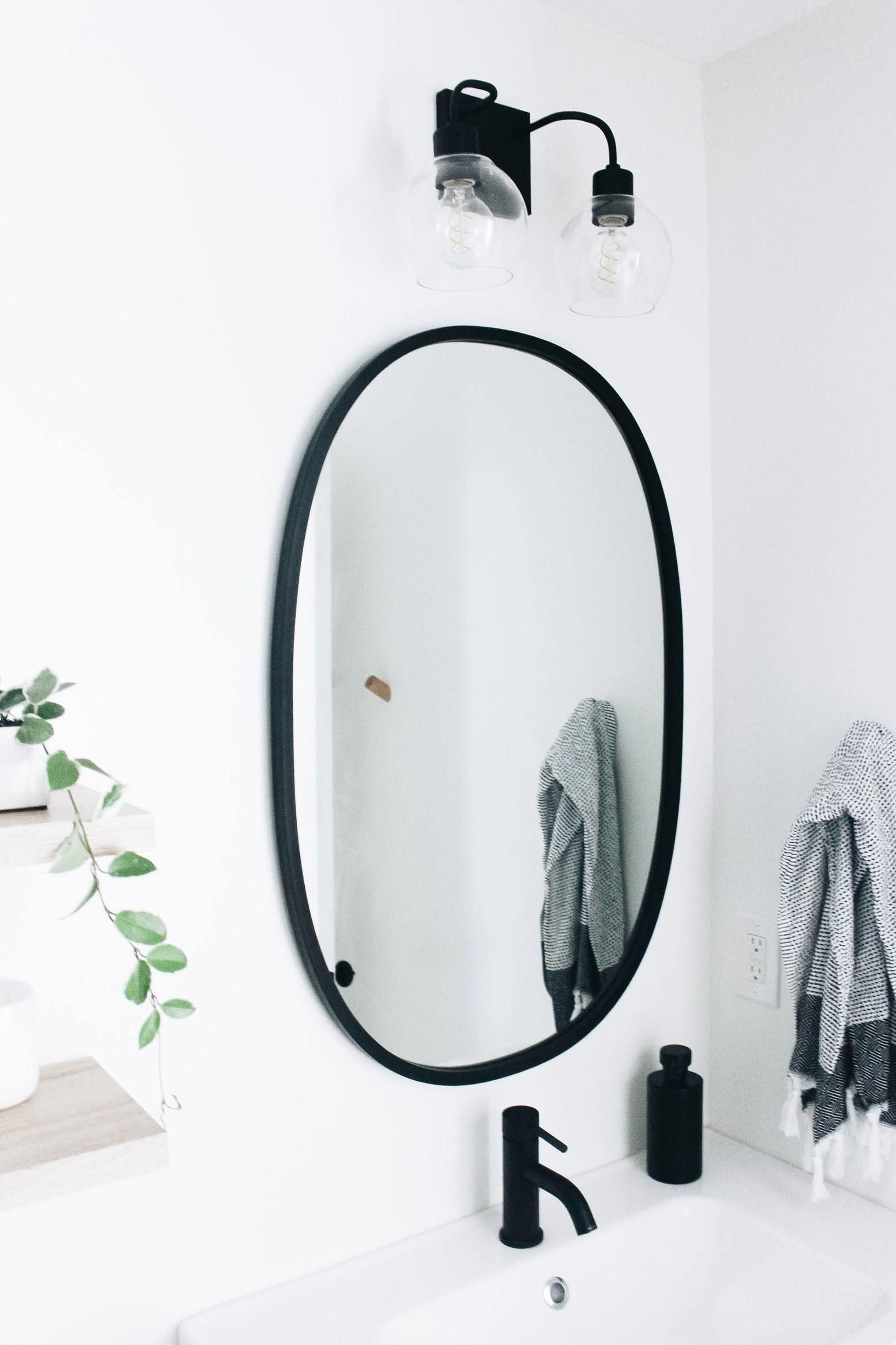 Photo of Our Master Bathroom Fixer Upper | Simply Well Spent – Black Modern Oval Mirror f…