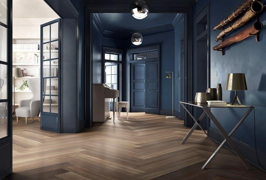 garden state tile // herringbone flooring // blue wall