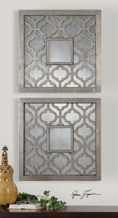 Antique Silver Leaf With Black Undertones And Mirrors Wall Decor Love These