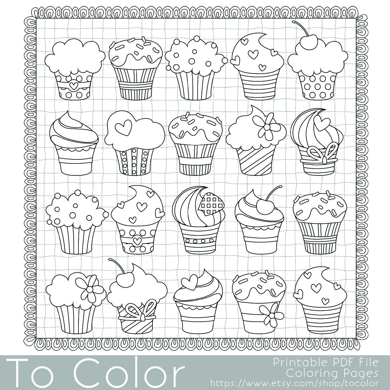 Cupcakes Coloring Page For Adults PDF JPG Instant Download Book