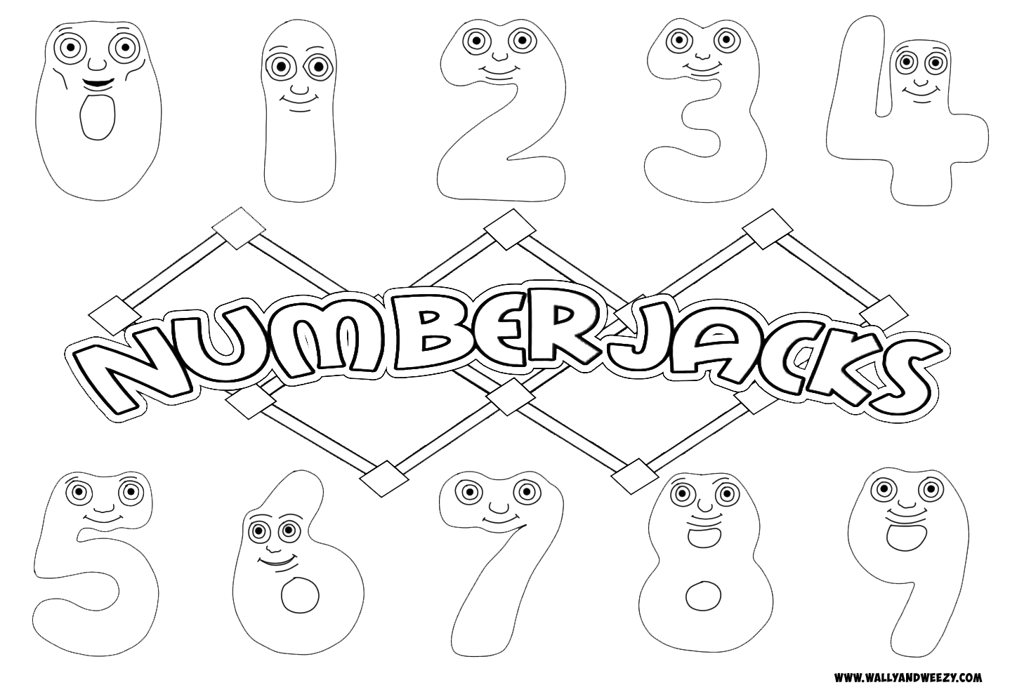 Numberjacks Drawing Coloring Video And Downloadable Coloring Page Coloring Pages Color Drawings