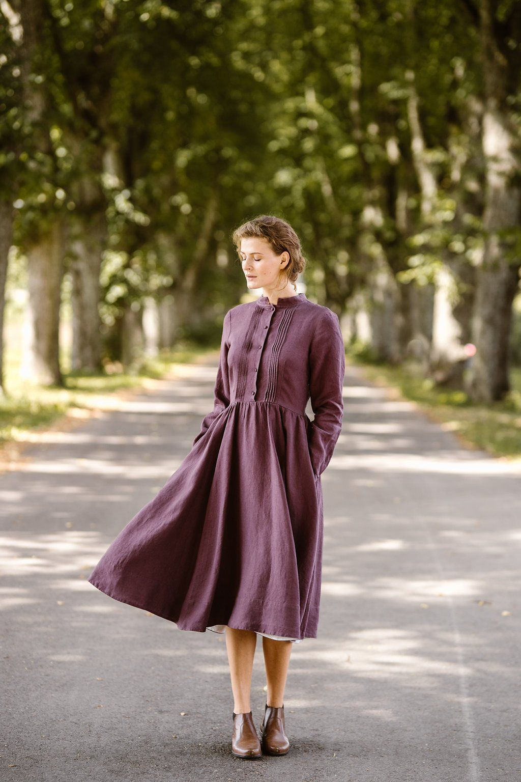 Lilac Linen Dress Made of Softened High Quality Linen