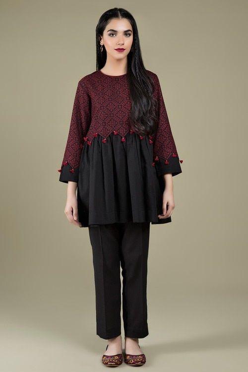 Kayseria 1 Piece Custom Stitched Shirt - Black - C 3404