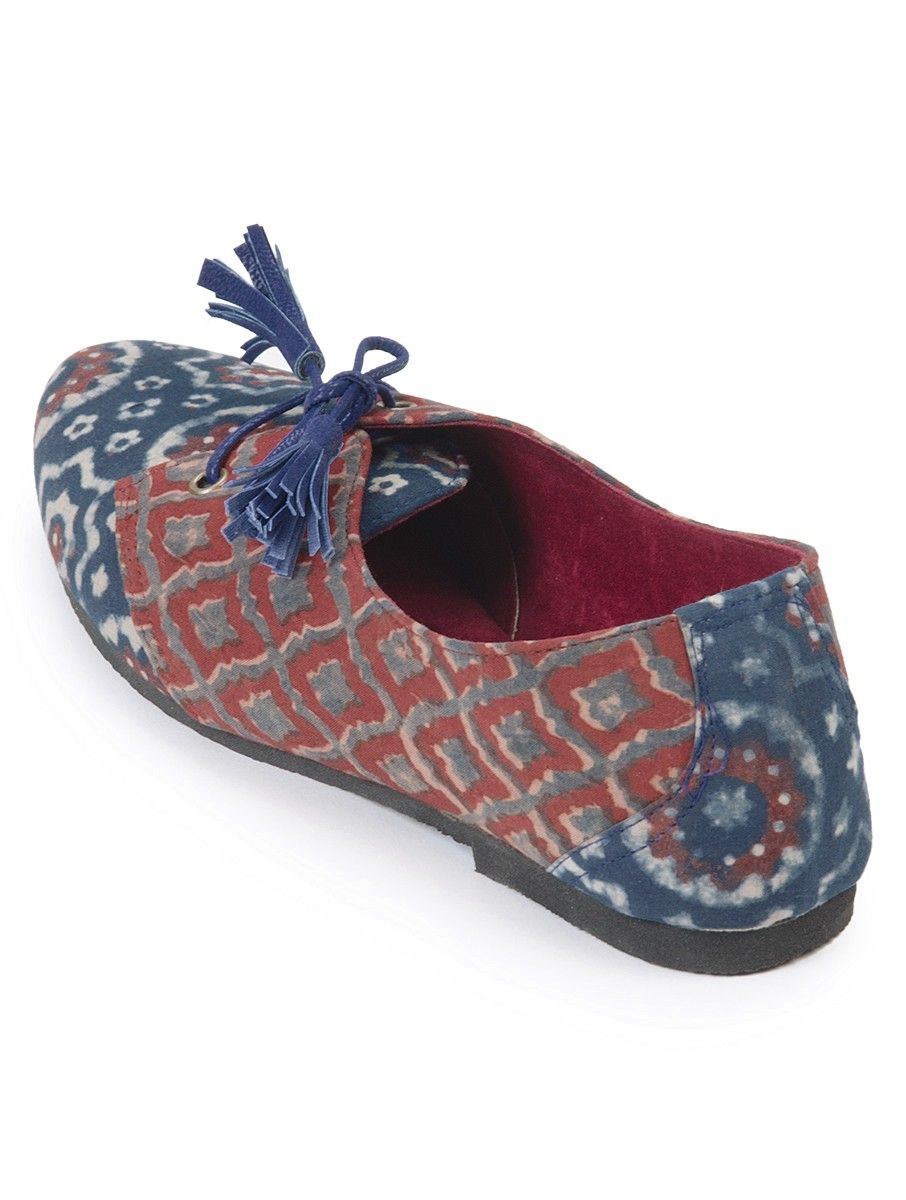 fceb292f14f Indigo-Madder Hand Crafted Ajrak Oxford Shoes Lined with Suede ...