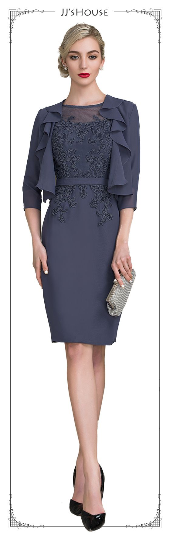 Sheath/Column Scoop Neck Knee-Length Chiffon Lace Mother of the ...