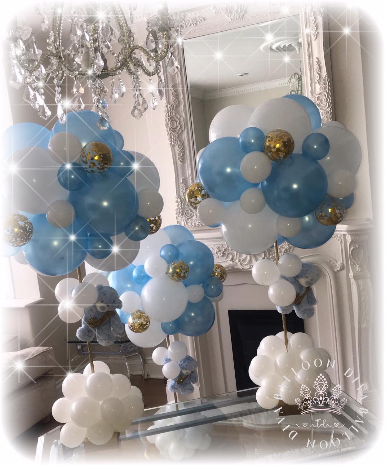 Pin By Sharon Moses On Sharon Wedding Christening Decorations Baloon Decorations Balloon Centerpieces