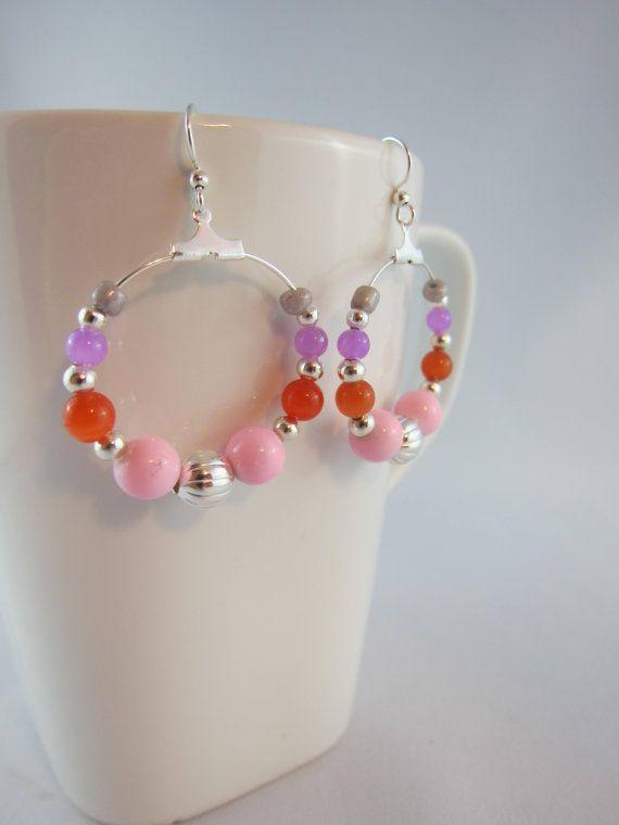 Hoop earrings, beaded hoops, grey earrings, purple pink orange, silver beads, silver hoops