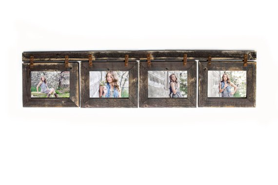 Barnwood Collage Picture Frame 4 Hole 4x6 Multi Opening Etsy Rustic Picture Frames Barn Wood Picture Frames Collage Frames 4 opening picture frame 4x6