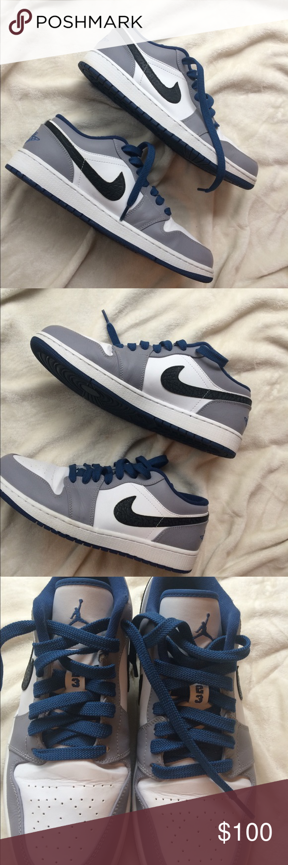 952a02320a Nike Air Jordan 1 Low Gray, White, & Blue These are Nike Air Jordans ...