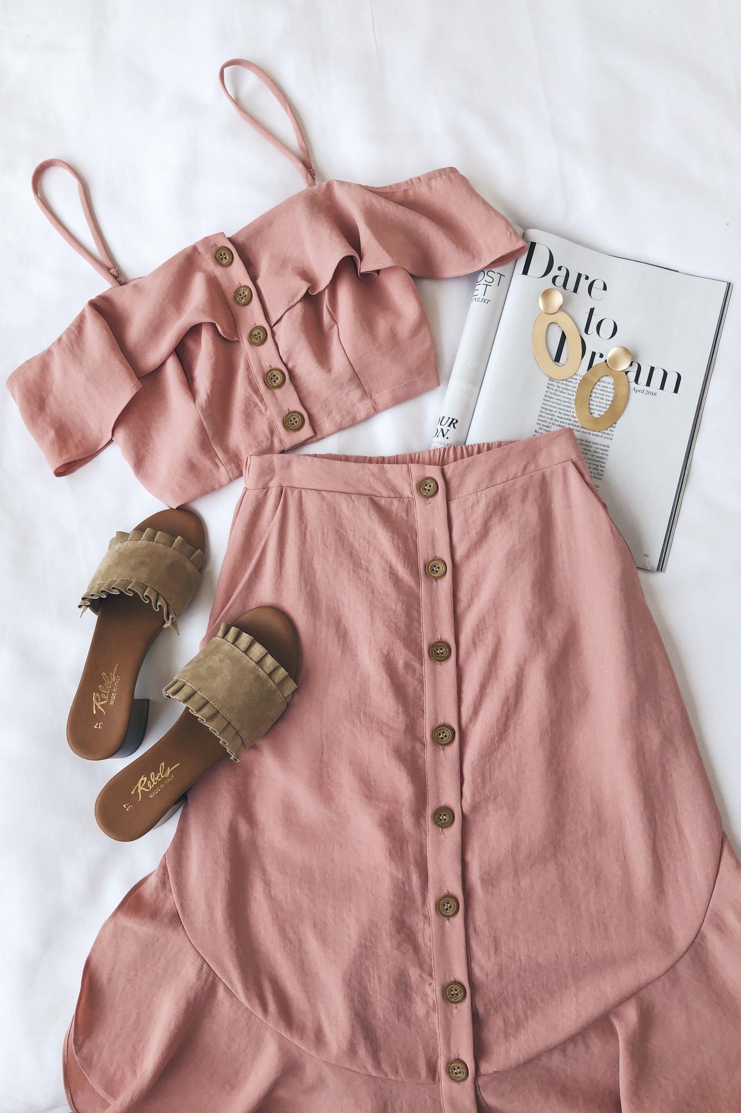 Casual pink dress shirt  Malta Mauve Pink OfftheShoulder ButtonUp TwoPiece Dress  my