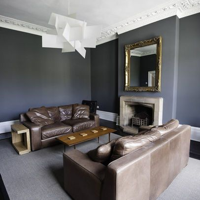Brown leather sofa w grey walls and gold accents home - Gray walls brown furniture living room ...