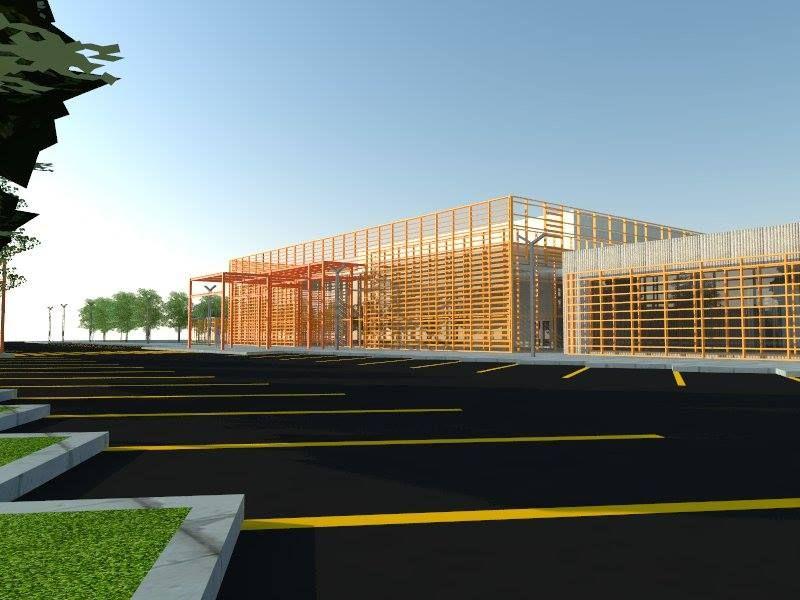Vista del auditorio y guarderia del centro de arte y oficios , fue un proyecto que realize para tesis de licenciatura.