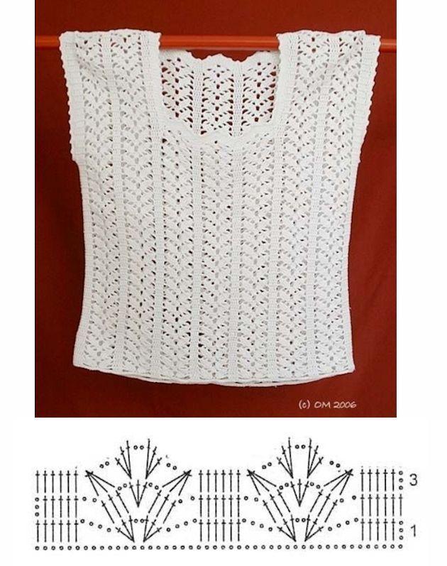 Genoeg Wit gehaakt topje | handwerken - Ganchillo blusas, Croché en &FY48
