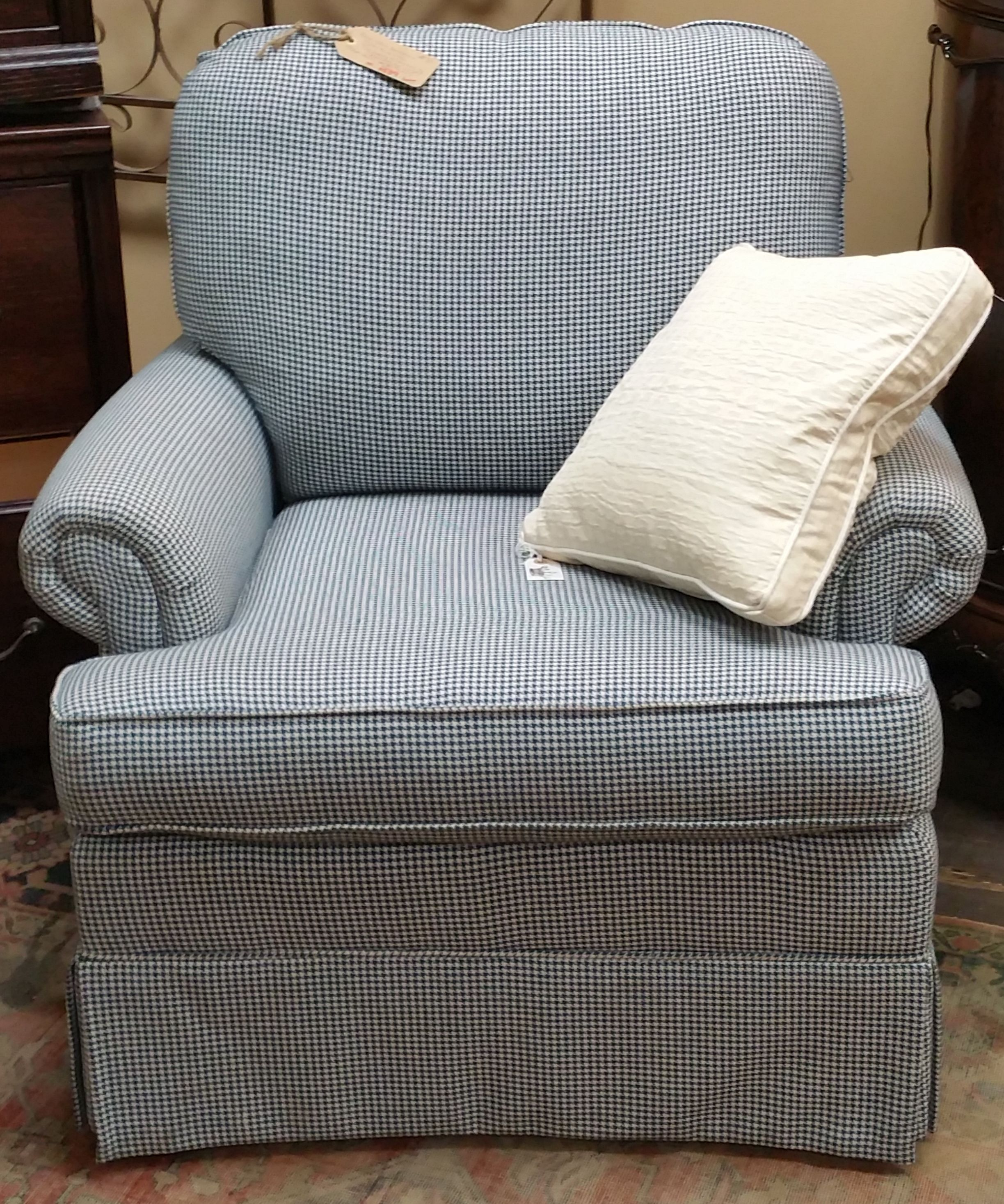 Blue and White Herringbone Club Chair, Top Quality Construction by Craft Master, $539.00,  Both 30.