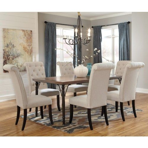 Signature Design By Ashley Tripton 7 Piece Rectangular Dining Room Table Set W Wood