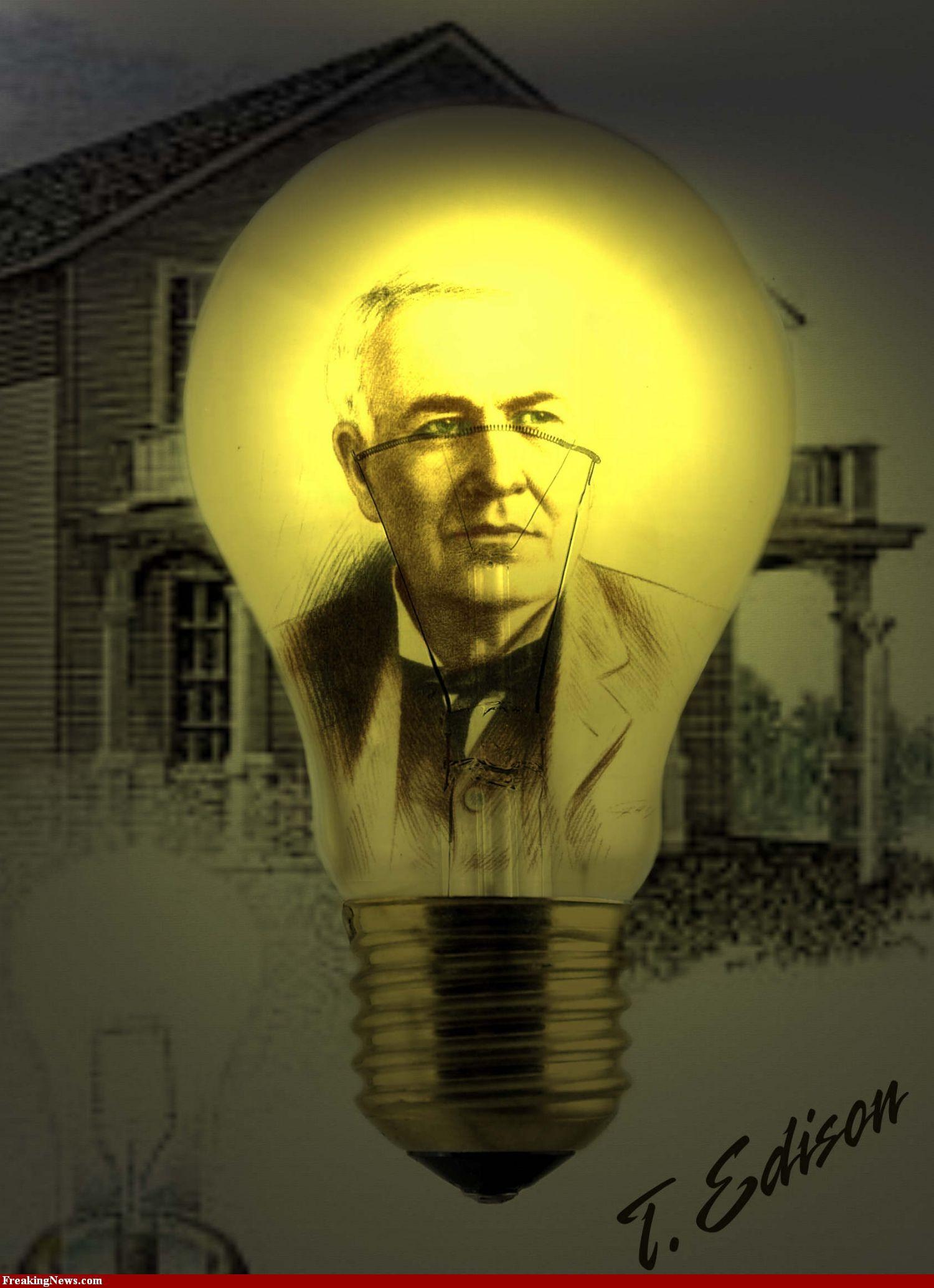 Thomas Edison Light Bulb | Thomas Edison In Light Bulb Pics   High  Resolution Photoshop Pictures . Design