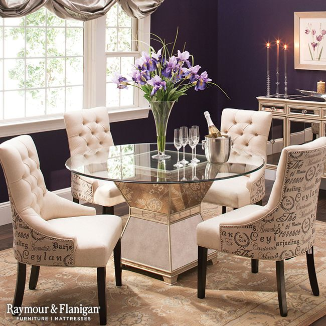 High Quality This Mirage Glass Dining Set Is What We Call Très Chicu2014it Dishes Out  Unforgettable Style With Its Scripted, Linen Look Armchairs And  Antiqued Mirror Table ...
