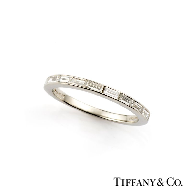 white gold half bands baguette eternity diamond ring band