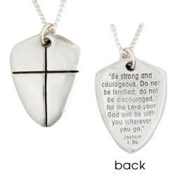 Sterling silver shield of faith necklace joshua 19 be strong and handcrafted sterling silver shield of faith necklace small bob siemon aloadofball Images