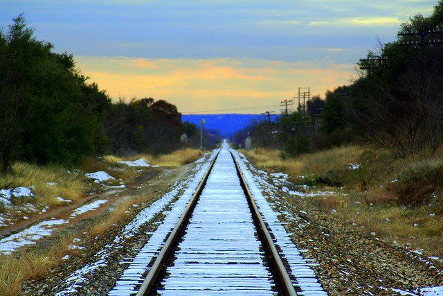 Snow In Abilene Texas Visiting Travel Railroad Tracks
