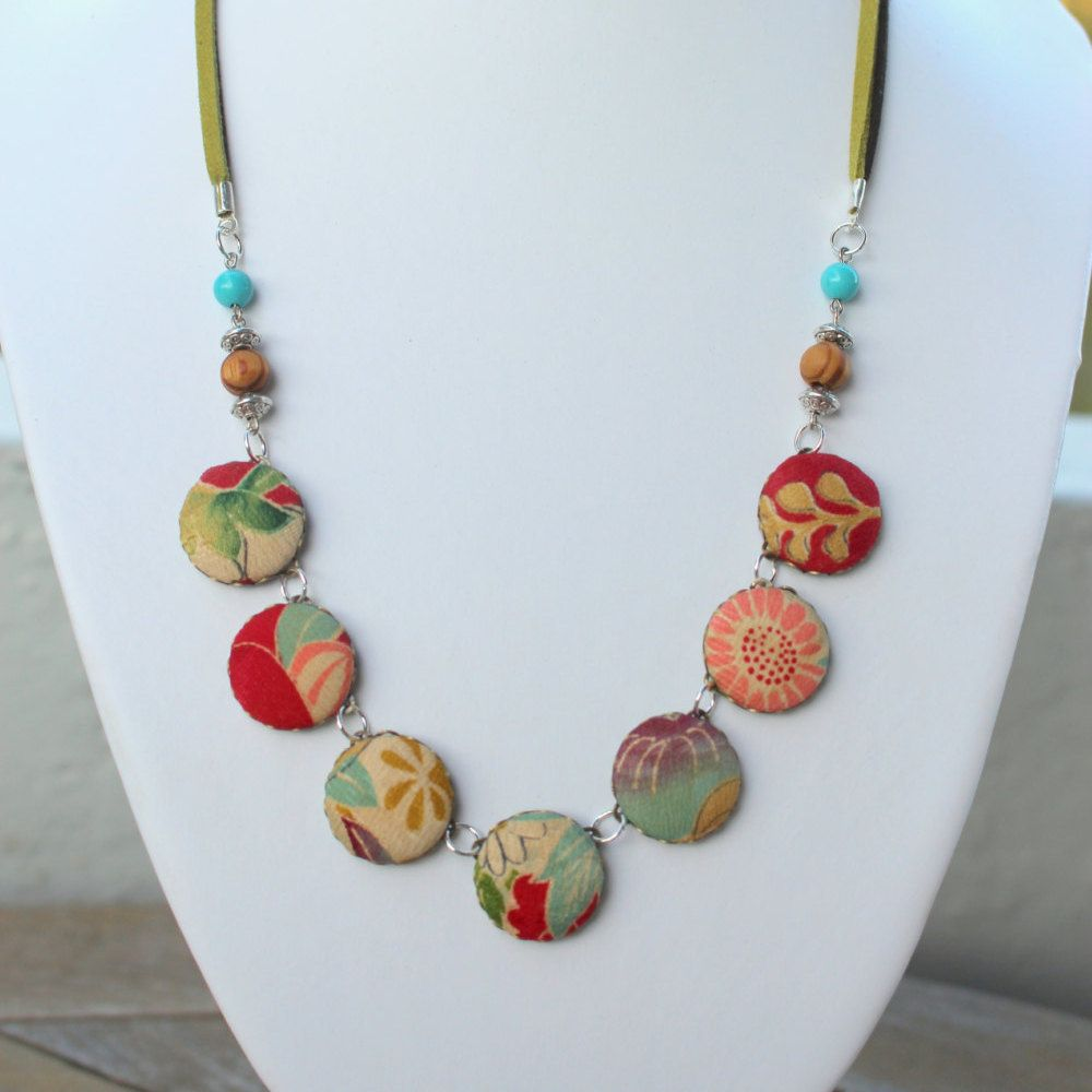 kimono fabric necklace japanese jewelryboho necklace traditional japanese style wooden beads necklaces fabric necklace