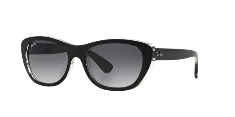 Ray-Ban for woman rb4227 (HIGHSTREET) - 60528G (TOP MAT BLACK ON  TRASPARENT  grey gradient dark grey) c6fccb1cab