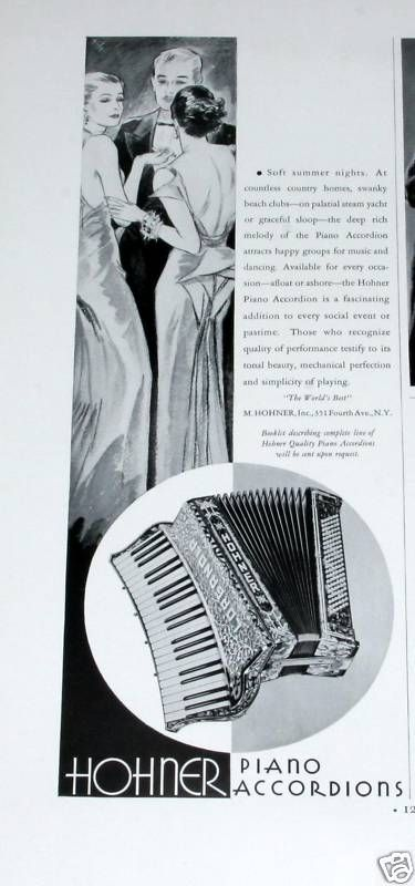 Details about 1934 OLD MAGAZINE PRINT AD, HOHNER PIANO ACCORDION