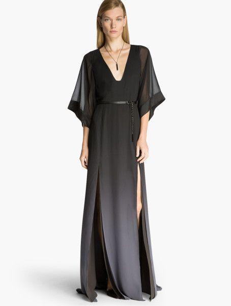 70cdd8df66 Halston Ombre Printed Kaftan Gown in Gray (Black Asphalt)