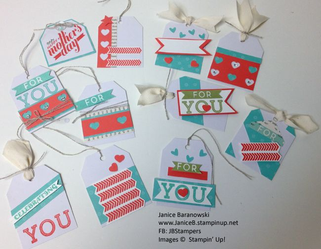 Love, Love Stampin Up's April Paper Pumpkin kit. Lots of tags from this kit! #JBStampers