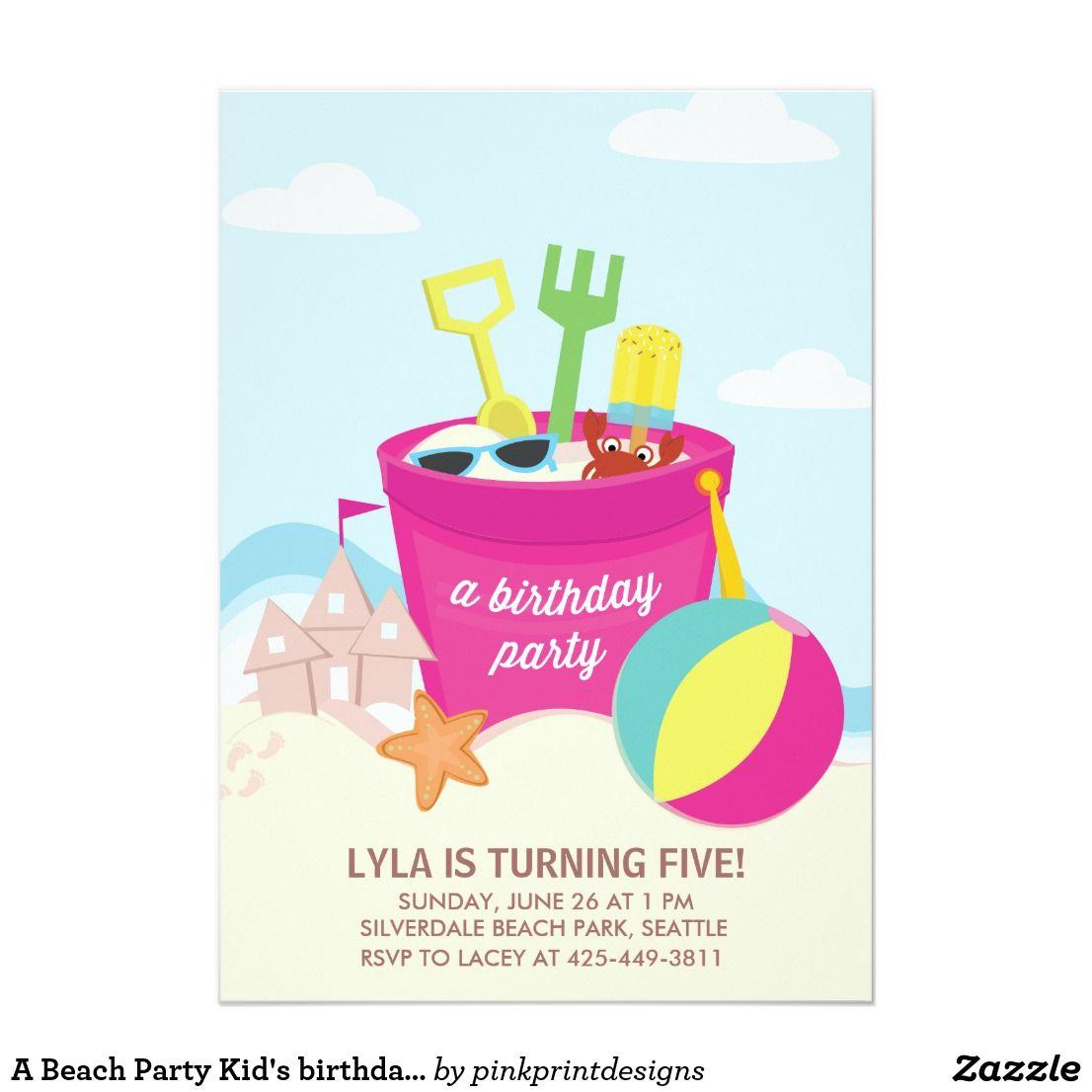 A Beach Party Kid\'s birthday Party invitation   Party invitations ...
