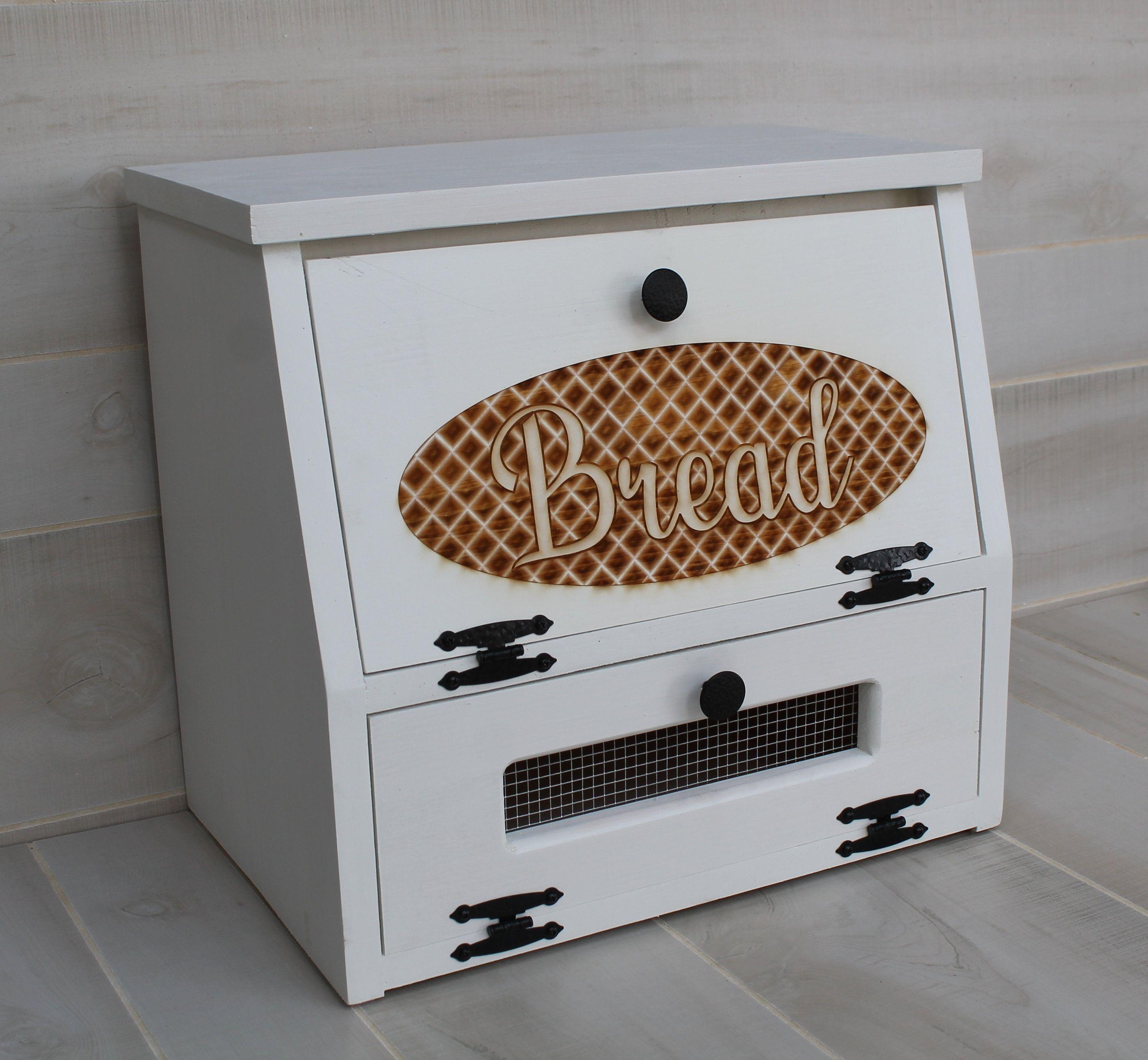 Bread Box Potato Vegetable Bin Farmhouse Chic Wooden Engraved