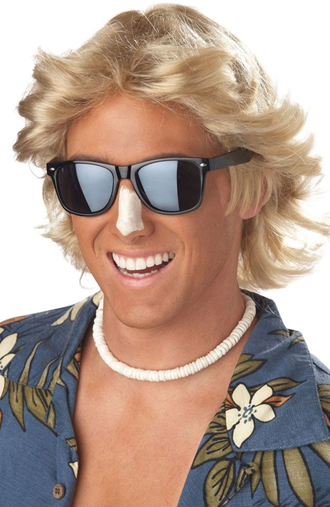 70/'s Dude Wig Blonde Shag Surfer Fancy Dress Halloween Adult Costume Accessory