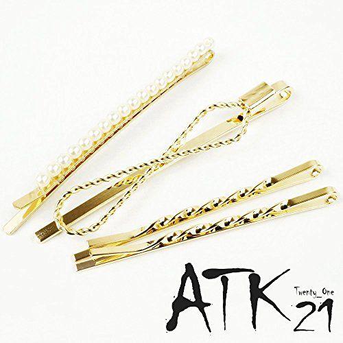 Atk21 4本セット パール ゴールド ヘアピンセット 前髪 髪どめ ヘアアクセサリー 大人可愛い A ヘアアクセサリー ヘアピン アクセサリー