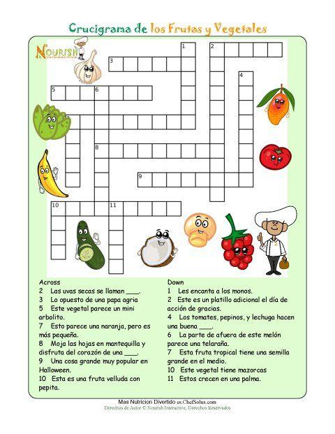 Imprimible Crucigrama De Nutricion Frutas Y Vegetales Con